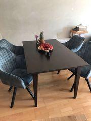 Massivholztisch Tisch dunkelbraun Lackiert massiv
