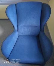 Omasessel mit Hocker in blau