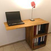 Schreibtisch Massivholz Akazie Seitentisch Bürotisch