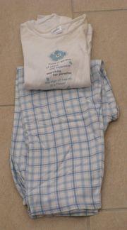 Pyjama weiß hellblau Gr 140