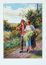 Gemälde Genre Ernte Bauern Land