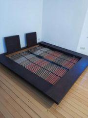 schwarzes massives Bambus Doppelbett Bett
