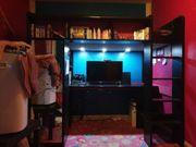 Hochbett schwarz mit Schreibtisch und