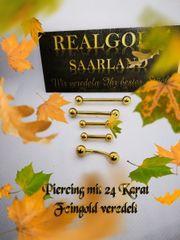 Piercingschmuck mit 24 Karat Feingold