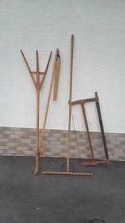 Holz-Dreschflegel Dreschschlegel Heugabel aus Holz