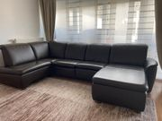 Braune Echt Leder U-Couch