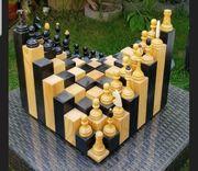 3D Schachfeld mit Figuren Unikat