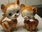 Katzenpäärchen aus Glas zur Dekoration