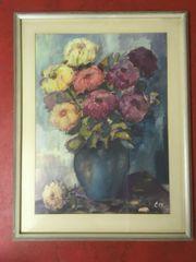 Alte Aquarell Kreide Zeichnung Vase