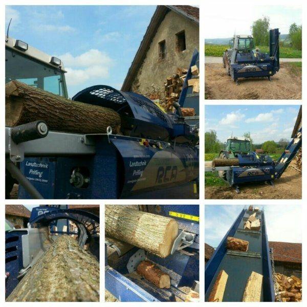 Brennholz sägen Sägespaltautomat Lohnsägen Lohnspalten