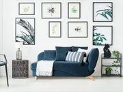 Chaiselongue dunkelblau mit Bettkasten rechtsseitig