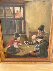 Öl Portrait Männer beim Würfeln