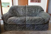 Sofa 2-Sitzer melierter Veloursbezug zu verschenken