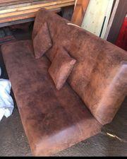 Couch mit schlaffunktion braun