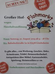 Großer Hof-Flohmarkt Haushaltsauflösung Samstag 10