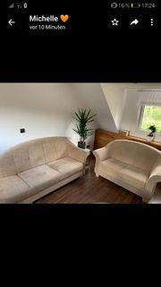 Sofa Couch Cremefarben zweiteilig