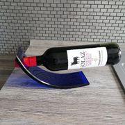 Weinflaschenhalter blau Plexiglas Abgabe ohne
