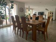 Massivholz Esstisch mit 8 Stühlen