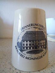 Bierkrug Erinnerungskrug der Brauerei Moninger