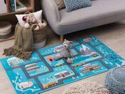 Kinderteppich blau Stadt-Motiv 80 x