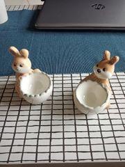 Eierbecher Hasen Dekoration Deko Keramik