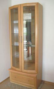 Schrank Vitrine Glasböden Spiegelrückwand Schublade