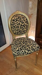 Stuhl gold mit Animal Print