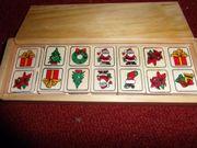 Holzdomino Weihnachtsmotive Puppengeschirr versch Spielsachen