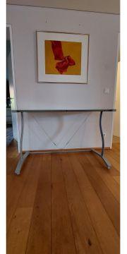 Schreibtisch Beistelltisch mit Glasplatte