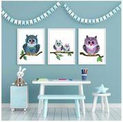 3tlg Bilderset fürs Kinderzimmer Eulenfamilie
