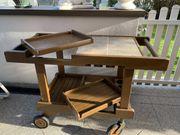 Barwagen Beistelltisch Servierwagen Teakvollholz