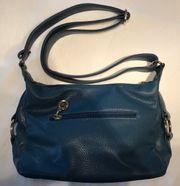 Handtasche Damen Umhängetasche Leder blau