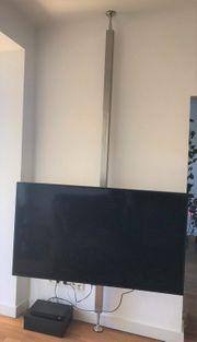 Fernsehständer Boden-Decke Industriedesign Edelstahl