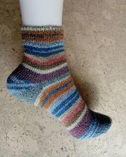 Kurzschaft-Socken mit Klima-Baumwolle handgestrickt Komfortbündchen