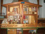 Puppenhaus mit Pferdestall Garage 50er