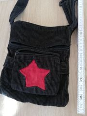Schwarze Cord Tasche mit Stern