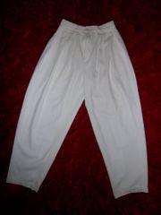Besondere weiße Stoffhose Gr S