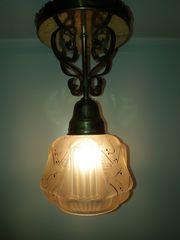 ausergewöhnliche alte Deckenlampe Glas geätzt