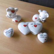 Geschenkset aus Porzellan- Herzen und