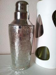 Cocktail-Shaker dreiteilig Edelstahl mit Mosaik-Besatz