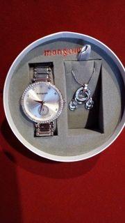 Schmuckset Manguun Armbanduhr Kette Ohrstecker