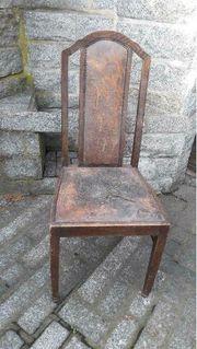 Antik Stuhl Gründerzeit Massivholz Leder