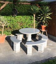 Sitzgruppe Naturstein Granit 5-teilig mit