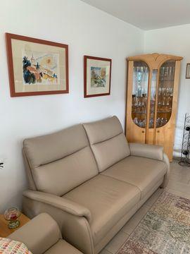 Polster, Sessel, Couch - Leder Sofa Farbe Stone