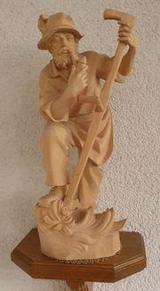 Bergbauer Schnitzerei Holz Figur