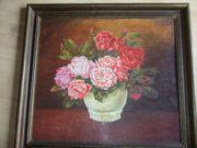 altes Ölbild Stilleben Blumen in