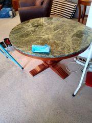 Tisch rund altdeutsch mit Marmor