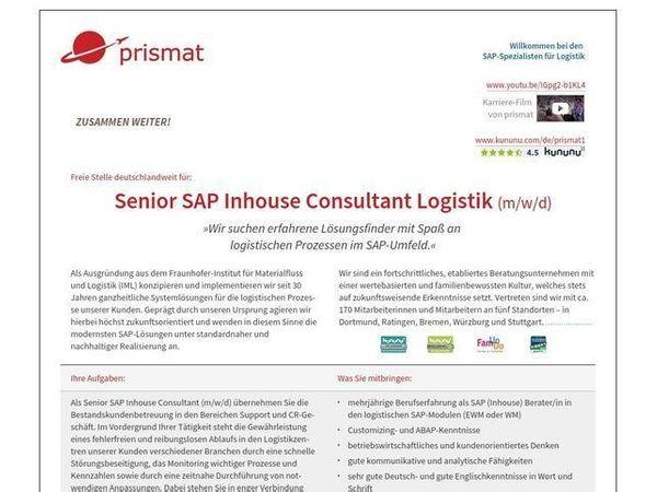 Senior SAP Inhouse Consultant Logistik