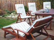 Gartenstuhl Holz mit Auflage beige-grün
