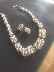 herrliches Perlencollier vergoldet Ohrringe